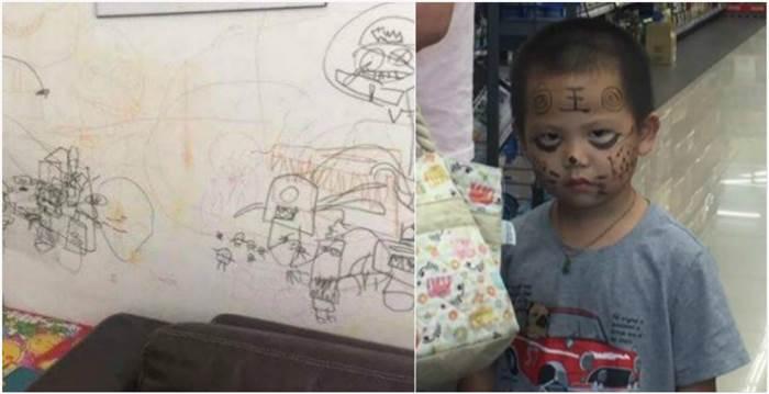 兒子在墻上亂塗鴉,因此媽媽決定用『同理心』教導孩子,鄰居一看全笑翻!