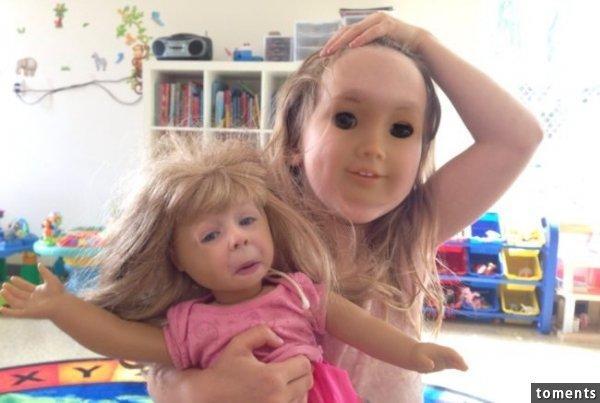 給孩子買了娃娃後,沒想到竟發生恐怖的事,娃娃的臉竟長得跟孩子越來越...!讓看到照片的人都被嚇傻了!!