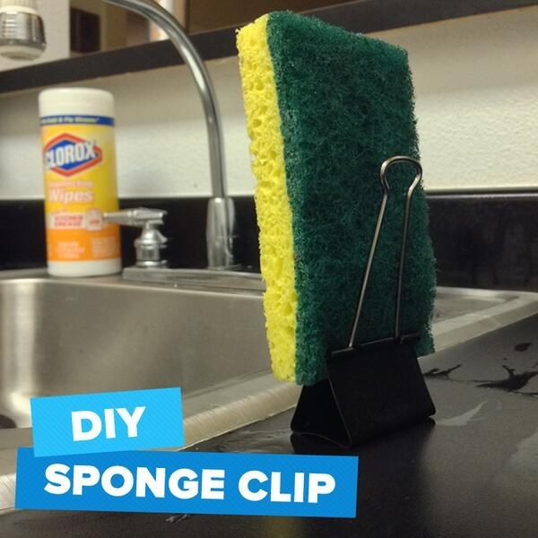 Use a binder clip as a sponge stand.