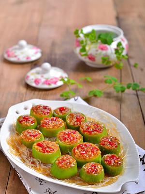 素菜食譜 - 蒜茸粉絲蒸絲瓜