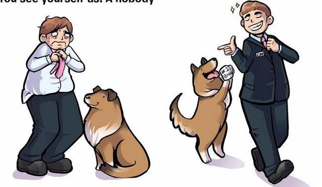 10張讓你發現你有多完美的「狗狗眼中的你」插畫!
