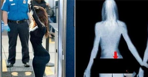正妹經過海關時遭到X光透視,卻被屁股後方正插著「這東西」! 當場嚇壞海關人員!