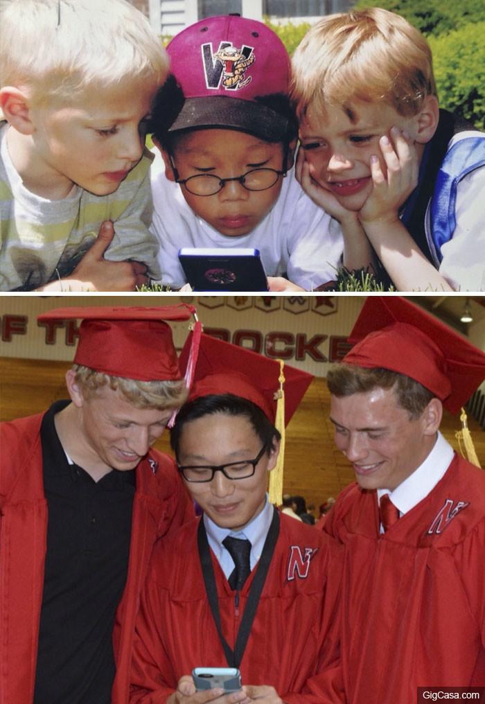 30張時間不會改變友情的「以前 VS 現在」感人照片!#7 30年每5年看着他們慢慢變老!
