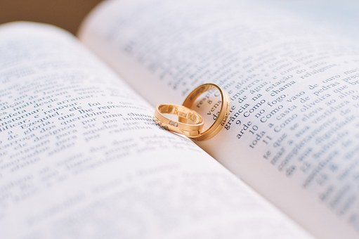 Couple, Love, Rings, Book, Wedding